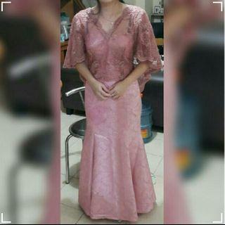 [SEWA MURAH!! ] Party Dress/Gaun Pesta /Wisuda Dusty Pink Semi Mermaid/Duyung/ Kebaya Modifikasi CAPE