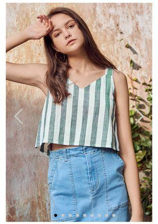 TCL ANA TWO-WAY LINEN STRIPES TOP IN GREEN