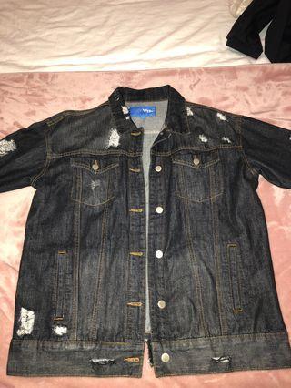 Black ripped denim jacket