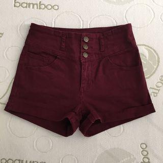 Supre size 8-10 maroon three button canvas high waisted shorts