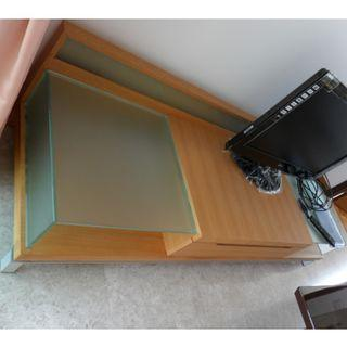 Cheapest! As new solid wood TV Console with glass partitions & drawer for sale $280 only!