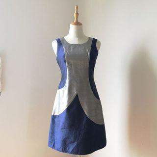 🚚 Tailored Sleeveless Violet & Silver Dress