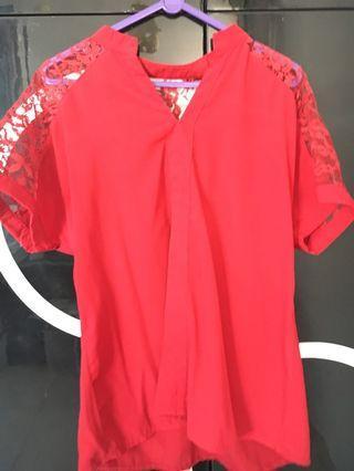Kemeja bordir merah marun