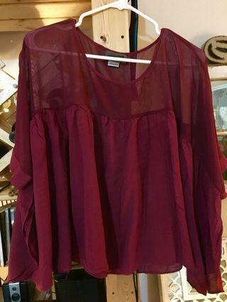 EUC Red Blouse (size UK 8)