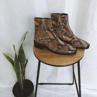 TOPSHOP leather snake print boots