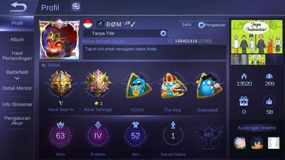 Jual Akun mobile legend All bind