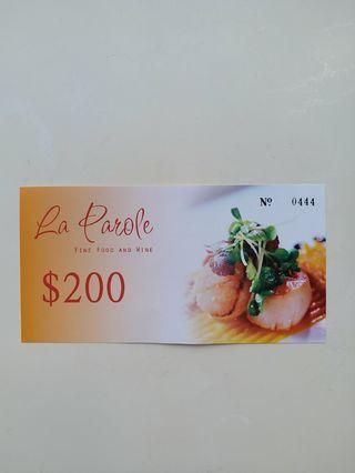 上環法國餐廳 La Parole 禮卷  餐廳禮卷 French cuisine Sheung Wan gift voucher
