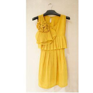 Yellow Dress Corsage Vintage