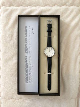 LINJER: Watch (Silver/Black) + 2 Leather Straps (Navy and Dark Brown)