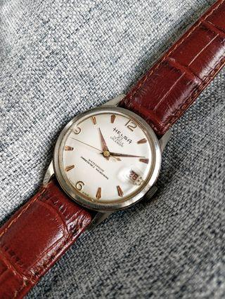 Vintage Rose Gold Accent Talon Indices Helsa Ollech Wajs Swiss Watch