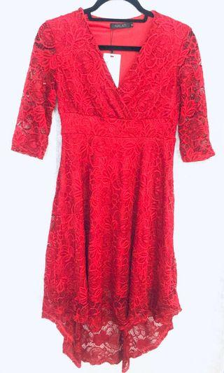Women's Lace Dress 3/4 sleeve RED SM