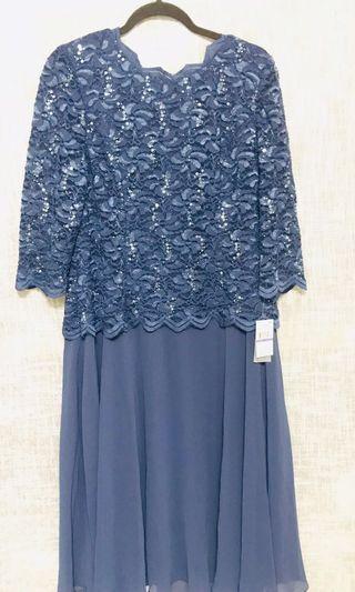 Ladies Lace Evening Dress Cobalt Blue Sz 18