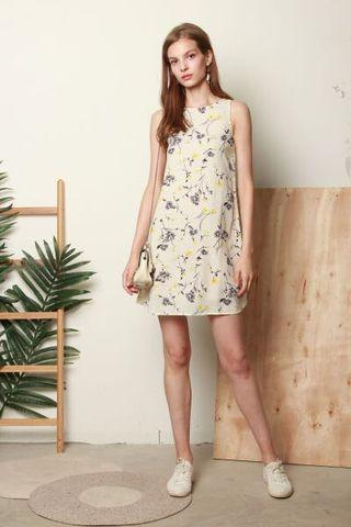 acw pastel floral trapeze dress in daffodil yellow
