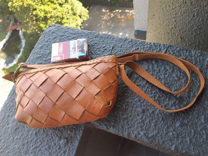 Hand made sling bag leather