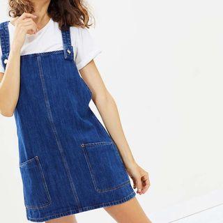 Mango Denim Overall Dress