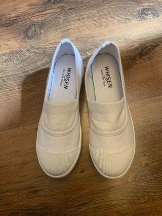 韓國白色厚底鞋