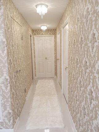 Furry runner carpet in white 3m length