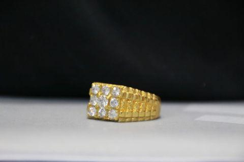 Silver  and cz stone plated in 916 gold color mens ring