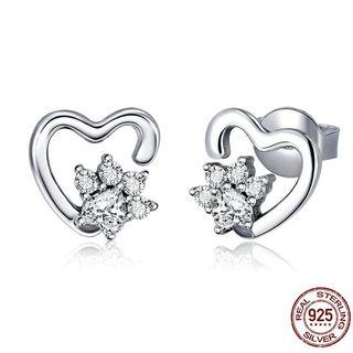 925 Sterling Silver Classic Heart Clear Cubic Zircon Pave CZ Earring Women Authentic Silver Jewelry Women Fashion Jewelry