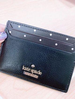🚚 Kate Spade Card Holder Black Polka Dots
