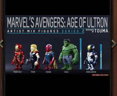 Hottoys Avengers Age of Ultron AOU Artist Mix Iron Man Thor Vision Hulk Legion Touma 有盒 全新
