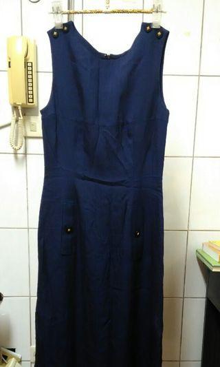 🚚 古著 日本製 藏藍色 吊帶洋裝