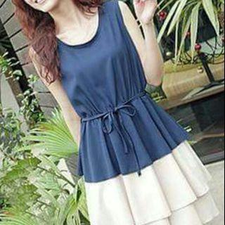 Korean Blue Ruffles Layered Dress