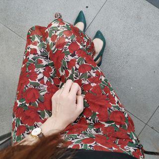 [WORN] Red Floral Print Midi