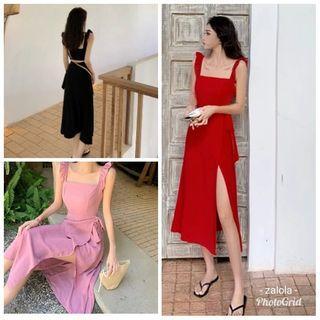 Ruffled frilled selftied slit maxi midi bridesmaid dress
