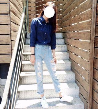 🚚 韓系淺藍色鬆緊帶破褲