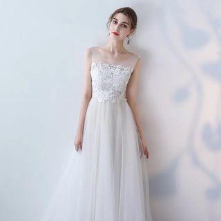 預訂PREORDER Lace 蕾絲婚紗晚裝 evening gown wedding party women cocktail costume queen dress white wedding gown 白色 紗 傘裙