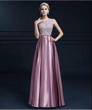 預訂PREORDER Lace 蕾絲婚紗晚裝 evening gown wedding party women cocktail costume queen dress purple pink 粉紅 豆沙紫