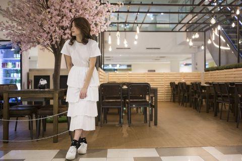 Layered t-shirt maxi dress in white