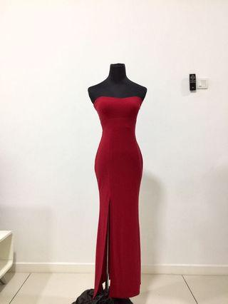 Dinner/Event Long Dress in Red (with one slit)