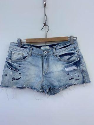 🚚 <正韓>SLINKY淺藍色刷破牛仔短褲