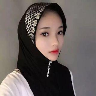 PREORDER Muslim Islam Arab Indonesia Malaysia Pakistani Indian Clothes Scarf lace bling bling high end costume queen