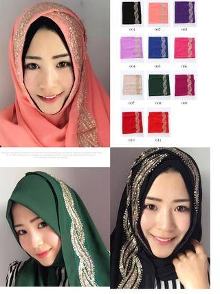 PREORDER Free Post Muslim scarf with cap multi color Indonesia Malaysia colorful costume queen gold sliver pink nude blue blingbling