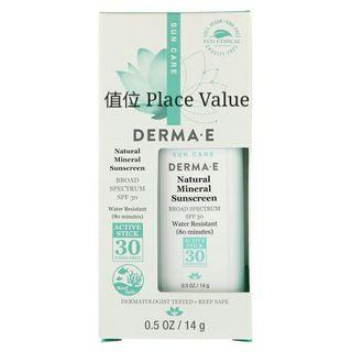 Derma E 防曬 Natural Mineral Sunscreen, SPF 30, Water Resistant, 0.5 oz (14 g)