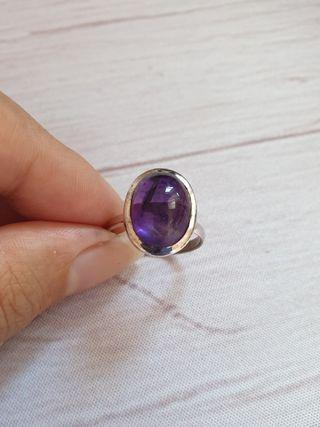 🚚 Amethyst Sterling Silver Ring Natural Gemstone 925