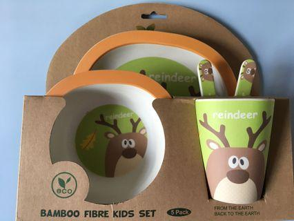 🚚 BNIB bamboo plate set
