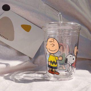 史努比玻璃水杯 耐熱耐高溫