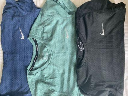 Nike Dry-fit Tshirts ( green, grey and blue) for each one