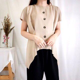 cream scuba blouse