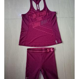 Under Armour dark maroon matching set (L size) - tights (mid length shorts) with tank top