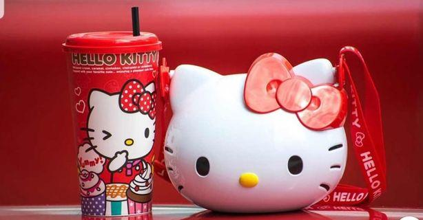 BNIP HELLO KITTY POPCORN  BUCKET/POUCH BAG & HELLO KITTY COLLECTIBLE CUP