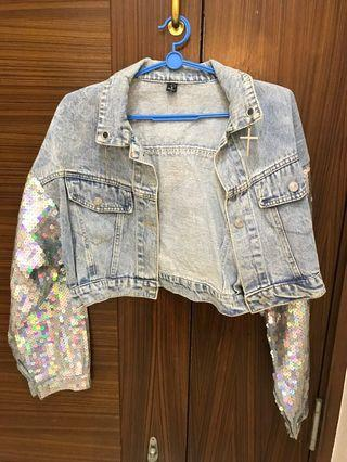 Denim Jacket with holographic sequins