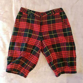 Wool Blend Tartan Shorts