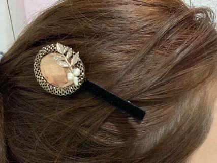 正韓手工鑽珍珠女神感造型髮夾髮飾