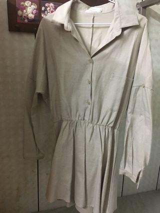 杏色襯衫式連身洋裝