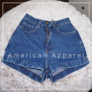 "*Perfect Condition* American Apparel High Waist Jean Cuff Shorts (Waist 25"")"